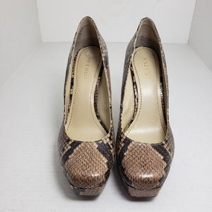 Nine West Hopefloat Snakeskin Tan Slip-On Pumps
